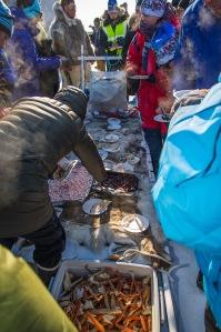 Ferske reker og fisk
